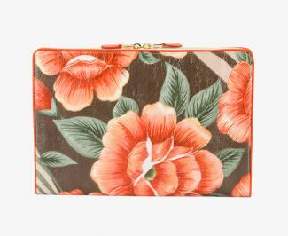 Balenciaga orange blanket flower print clutch bag