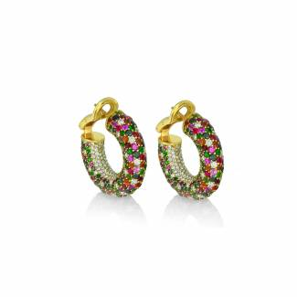 Niquesa Starlight multicolour earrings with white diamonds, rubies, black diamonds and sapphires set in yellow gold, £14,000