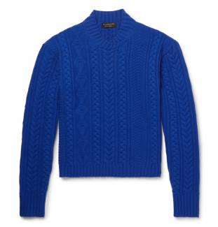 Burberry, Aran-knit wool and cashmere-blend sweater, £595